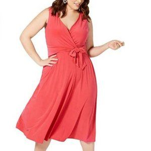 Love Squared Fit and Flare Coral Midi Dress